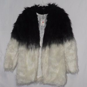 Haoduoyi Women Winter Black Faux Fur Jacket